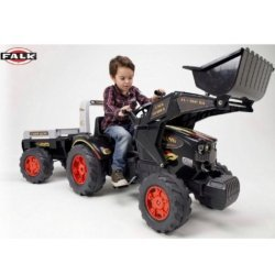 FALK Трактор-экскаватор педальный с прицепом черный (размер 204х60х69см, от 3х лет)